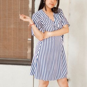 Anthropologie Blue and White Striped Wrap Dress
